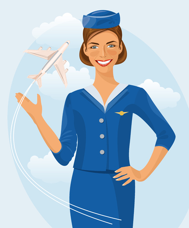 commercial airplane: Air hostess. Woman in official clothes. Cute cheerful female flight attendant in blue uniform