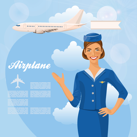 flight: Air hostess. Woman in official clothes. Cute cheerful female flight attendant in blue uniform