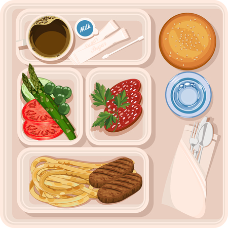 lunch: Food for plane passengers. Airplane lunch. illustration Illustration