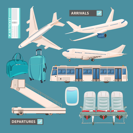 luggage airport: Airport info graphic set with business jet, passenger bus, cute airport icons and signs