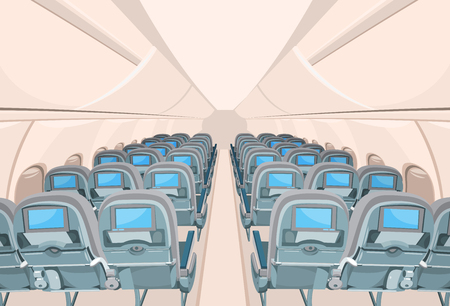 aircraft: interior of passenger airplane with many empty seats Illustration