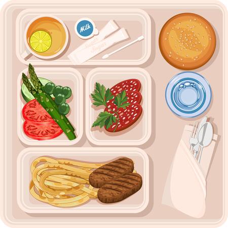 passengers: Food for plane passengers. Airplane lunch. illustration Illustration