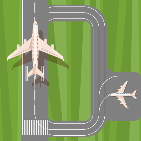 landing: Runway with jet aircraft top view. Takeoff and landing airplanes set. Airport with planes landing and taking off. Airport elements.