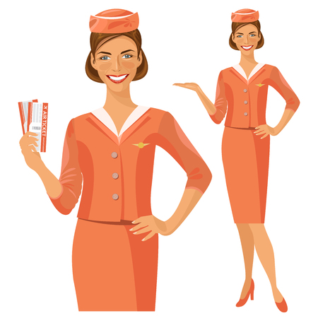 hostess: Air hostess. Stewardess holding ticket in her hand. Woman in official clothes Illustration