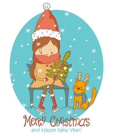 Creative design de carte de voeux avec des décorations de Noël brillant sur fond élégant pour célébrer Joyeux Noël et Bonne Année.