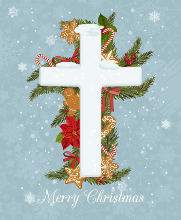 god box: Merry Christmas celebration concept with Christmas Cross on decorative background. Creative greeting card design with shiny Xmas decorations on stylish background for Merry Christmas celebration