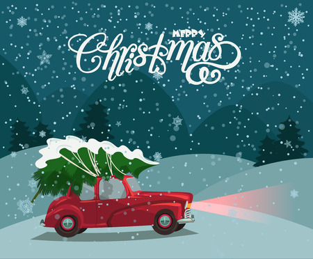 Christmas landscape card design of retro red car with tree on the top. Merry Christmas illustration in vintage design. Ilustracja