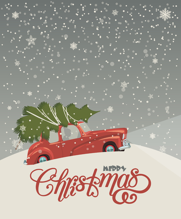 Christmas landscape card design of retro red car with tree on the top. Merry Christmas illustration in vintage design. Illustration