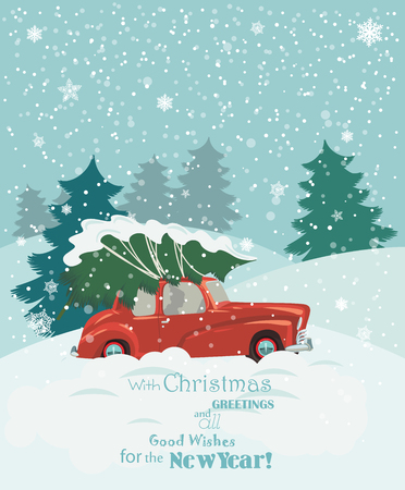 Christmas landscape card design of retro red car with tree on the top. Merry Christmas illustration in vintage design. Stock Illustratie
