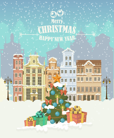 Christmas town illustration. Winter landscape. Greeting card with fairy tale houses. Snowy town at holiday eve. Vector illustration. Illustration