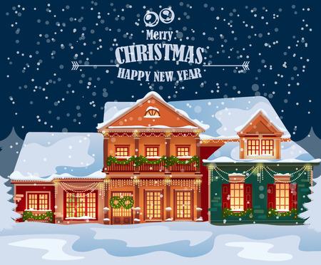 De stad van Kerstmis illustratie. Winterlandschap. Wenskaart met sprookje huizen. Besneeuwde stad op vakantie vooravond.