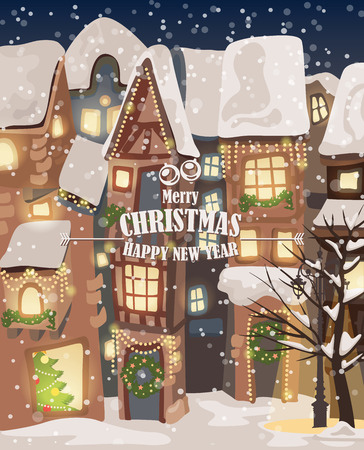 Christmas town illustration. Winter landscape. Greeting card with fairy tale houses. Snowy town at holiday eve.  Illustration
