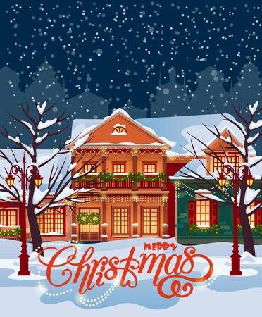 Weihnachtsstadt Illustration. Winterlandschaft. Grußkarte mit Märchenhäuser. Snowy Stadt am Feiertag.