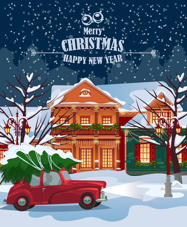 Retro car carries christmas tree through old town in snowy weather. Greeting card with fairy tale houses. Snowy town at holiday eve.  Illustration