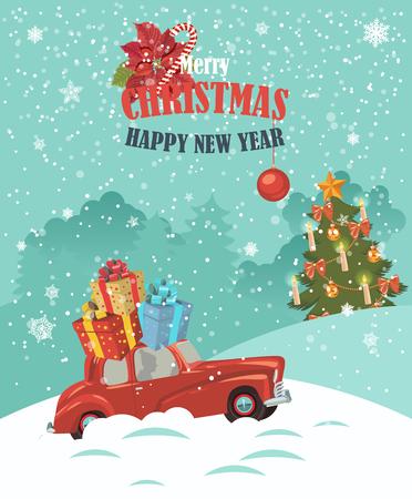 Frohe Weihnachten Illustration. Weihnachtslandschaft Kartendesign der Retro roten Auto mit Geschenken auf der Oberseite.