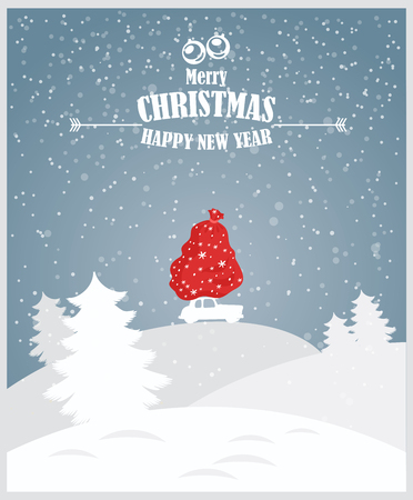 Merry Christmas illustration. Christmas landscape card design of retro red car with gifts on the top. Vettoriali