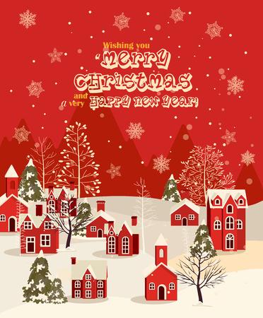 camino natale: Auguri di Natale con casa d'epoca. Città di inverno. nevicate illustrazione Vettoriali