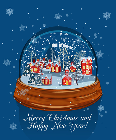 dome: Illustration of christmas landscape in snow glass ball. Christmas Snow Globe Illustration