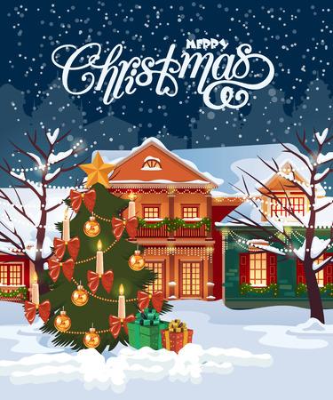 ビンテージの家クリスマスのグリーティング カード。冬の町。降雪図  イラスト・ベクター素材