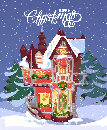cartoon fireplace: Christmas greeting card with vintage house. Winter town. Snowfall illustration