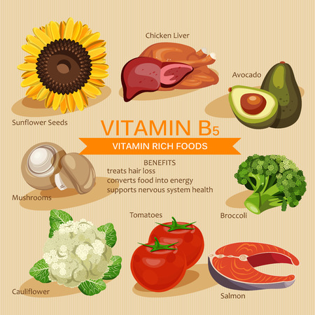 Vitaminen en mineralen voedsel Illustration. Vector set van vitamine rijk voedsel. Vitamine B5. Broccoli, kippenlever, avocado, zonnebloempitten, bloemkool, tomaten, champignons, zalm