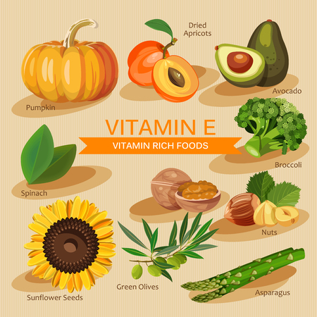 vitamins: Groups of healthy fruit, vegetables, meat, fish and dairy products containing specific vitamins. Vitamin E.