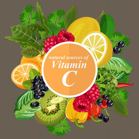 Groepen gezonde fruit, groenten, vlees, vis en zuivelproducten met specifieke vitamines. Vitamine C.