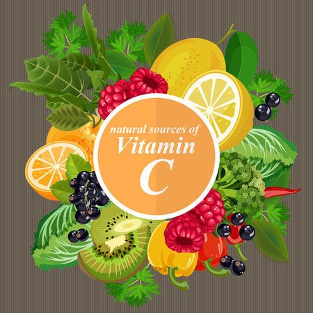 Groups of healthy fruit, vegetables, meat, fish and dairy products containing specific vitamins. Vitamin C. Ilustração