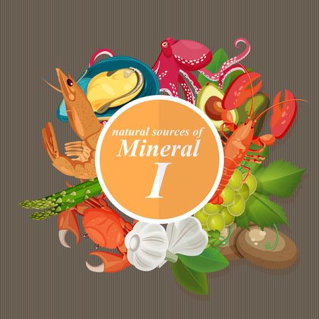 Gruppen von gesunden Obst, Gemüse, Fleisch, Fisch und Milchprodukte, die bestimmte Vitamine. Jod. Mineralien. Vektorgrafik