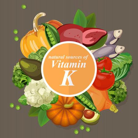 Gruppi di frutta sano, verdura, carne, pesce e latticini contenenti vitamine specifiche. La vitamina K.