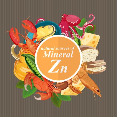Groepen gezonde fruit, groenten, vlees, vis en zuivelproducten met specifieke vitamines. Zink. Mineralen.
