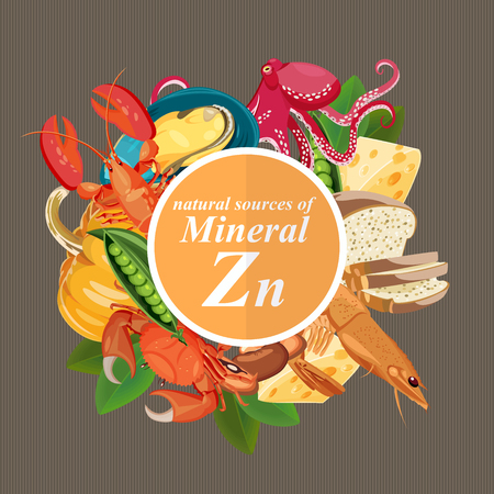 Groups of healthy fruit, vegetables, meat, fish and dairy products containing specific vitamins. Zinc. Minerals.