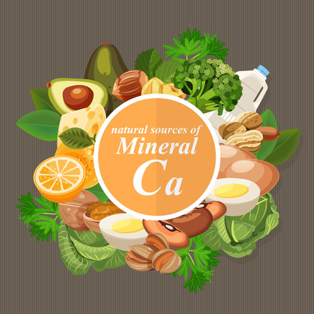 Groups of healthy fruit, vegetables, meat, fish and dairy products containing specific vitamins. Calcium. Minerals
