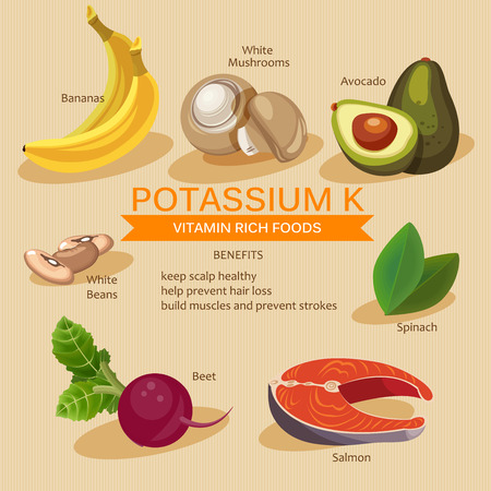 칼륨 음식입니다. 비타민과 미네랄 식품 일러스트 레이터. 비타민이 풍부한 음식의 집합입니다. 일러스트