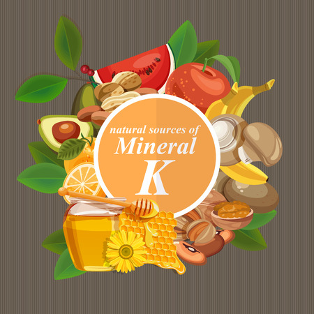 potassium: Groups of healthy fruit, vegetables, meat, fish and dairy products containing specific vitamins. Potassium. Minerals.