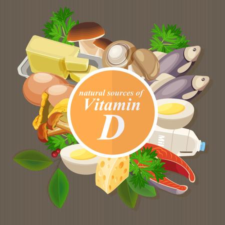 Groepen gezonde fruit, groenten, vlees, vis en zuivelproducten met specifieke vitamines. Vitamine D. Stock Illustratie