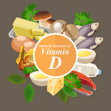 Groups of healthy fruit, vegetables, meat, fish and dairy products containing specific vitamins. Vitamin D. Illustration