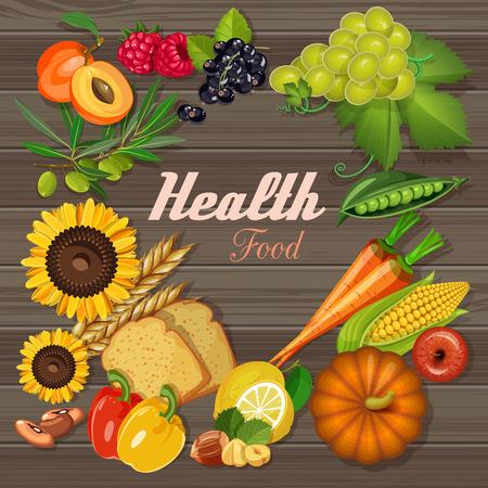 Groentewinkel. Verse groenten en fruit. Gezond eten. Vector illustratie.