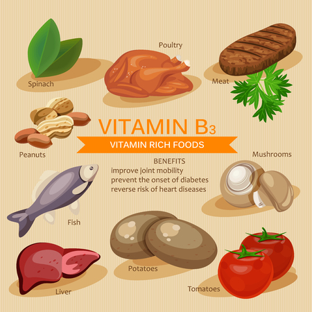 Vitamins and Minerals foods Illustration. Vector set of vitamin rich foods. Vitamin B3. Meat, spinach, poultry, fish, liver, mushrooms, potatoes, tomatoes, peanuts