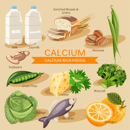 Vitamine und Mineralien Lebensmittel Illustration. Vector Reihe von Calcium-reichen Lebensmitteln. Kalzium. Milch, Sojamilch, Brokkoli, Orangen, Sojabohnen, Sardinen, Joghurt, Okra, Spinat, Käse, grüne Bohnen und andere Standard-Bild - 51018567