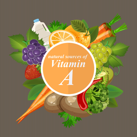 Groups of healthy fruit, vegetables, meat, fish and dairy products containing specific vitamins. Vitamin A.