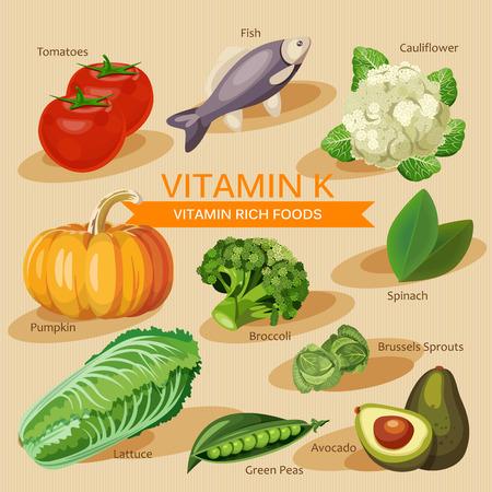 건강한 과일, 야채, 고기, 생선, 특정 비타민을 포함하는 유제품의 그룹. 비타민 K.