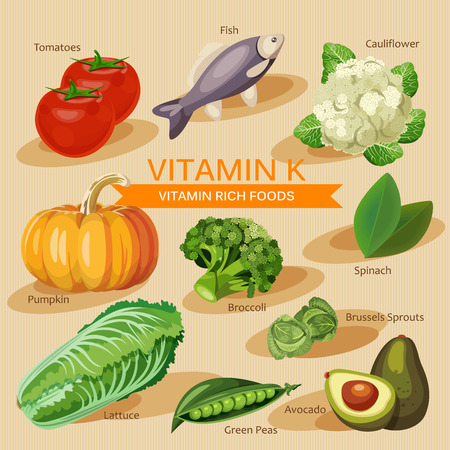 vitamins: Groups of healthy fruit, vegetables, meat, fish and dairy products containing specific vitamins. Vitamin K.