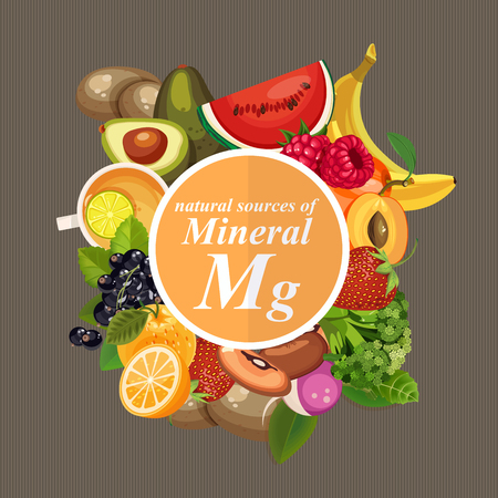 Groups of healthy fruit, vegetables, meat, fish and dairy products containing specific vitamins. Magnesium. Minerals Illustration