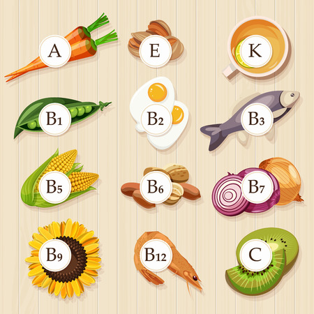 vitamins: Groups of healthy fruit, vegetables, meat, fish and dairy products containing specific vitamins. Wooden background