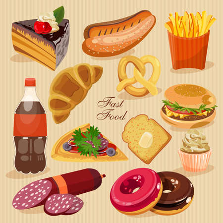 fizzy: Fast food. Set of junk food. Cake, hot dog, donuts, fizzy, soda, burger, pizza, roll.