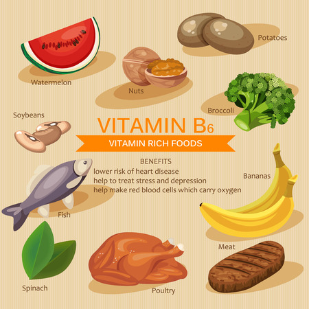 Vitamins and Minerals foods Illustration. Vector set of vitamin rich foods. Vitamin B6. Bananas, spinach, meat, nuts, poultry, fish, potatoes, broccoli and watermelon