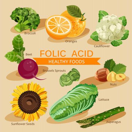 Groepen gezonde fruit, groenten, vlees, vis en zuivelproducten met specifieke vitamines. Foliumzuur.