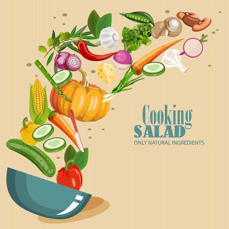 cocina caricatura: infografía de cocina. Ensalada fresca. Icono del vector detallada. Serie de alimentos y bebidas y los ingredientes para cocinar.