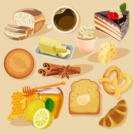 calabaza caricatura: Conjunto de pasteles y productos de harina de panadería o pastelería. Bollos, baguettes, pan, pasteles y otros productos horneados. Vectores